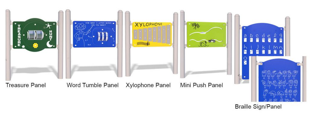 Examples of play panels. From left to right: treasure panel; wood tumble panel; xylophone panel; mini push panel; braille/sign panel