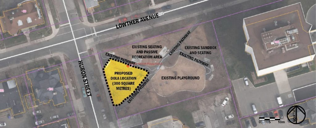 Plan shows location of OLA in triangular area west of playground, along Huron Street. OLA size is indicated as 300 square metres.