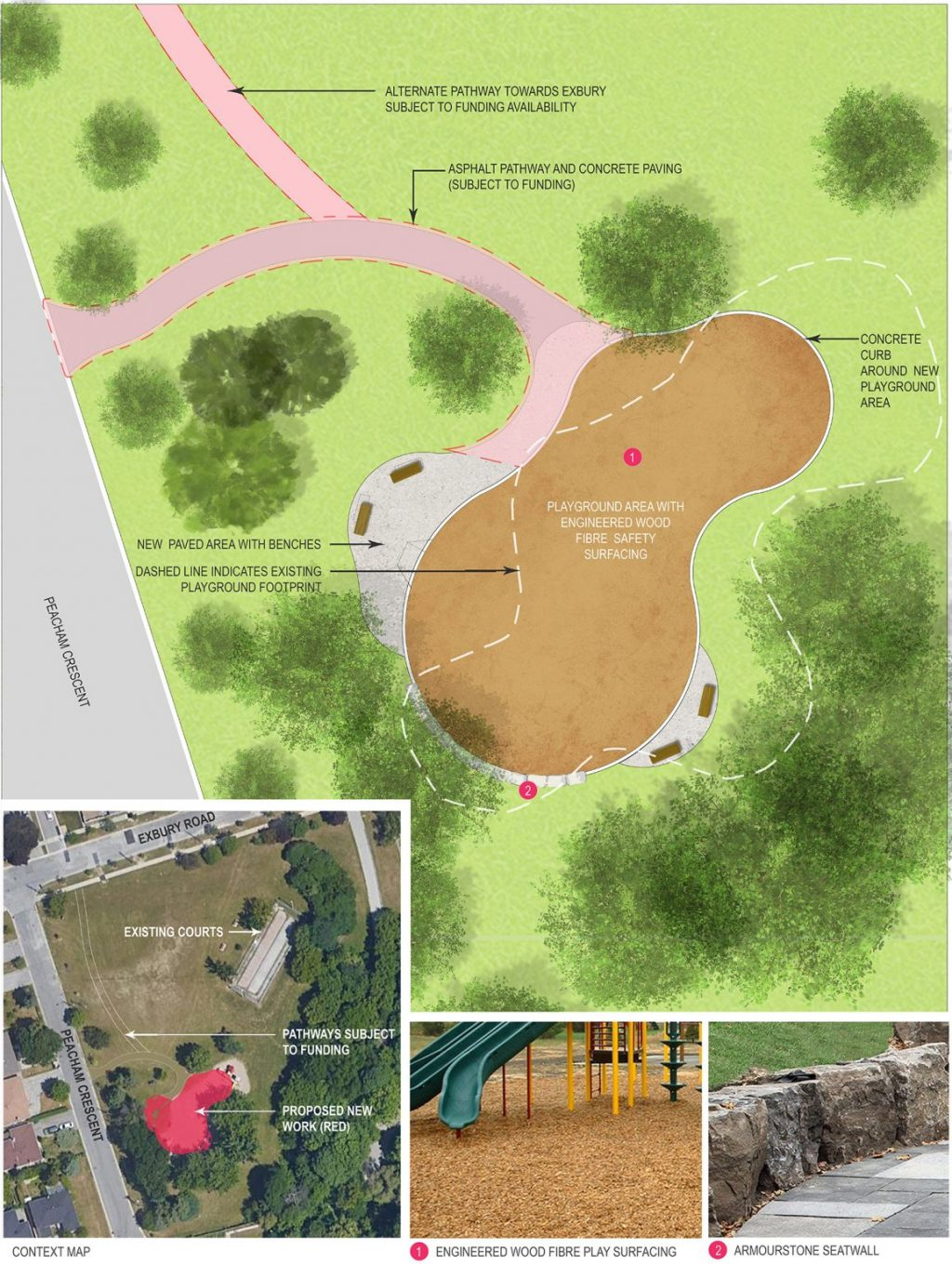 The Layout changes proposed include a new accessible asphalt pathway, and concrete paving, subject to funding, a slightly adjusted playground area on wood fibre safety surfacing, and a new paved area with benches.