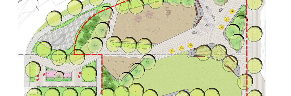 The new Tippett Park masterplan includes a children's play area, a water play zone with concreate seating, an active play open lawn area with Muskoka chairs, and outdoor fitness area and wood bench inserts throughout. The park site boundaries is indicated with red hash marks.