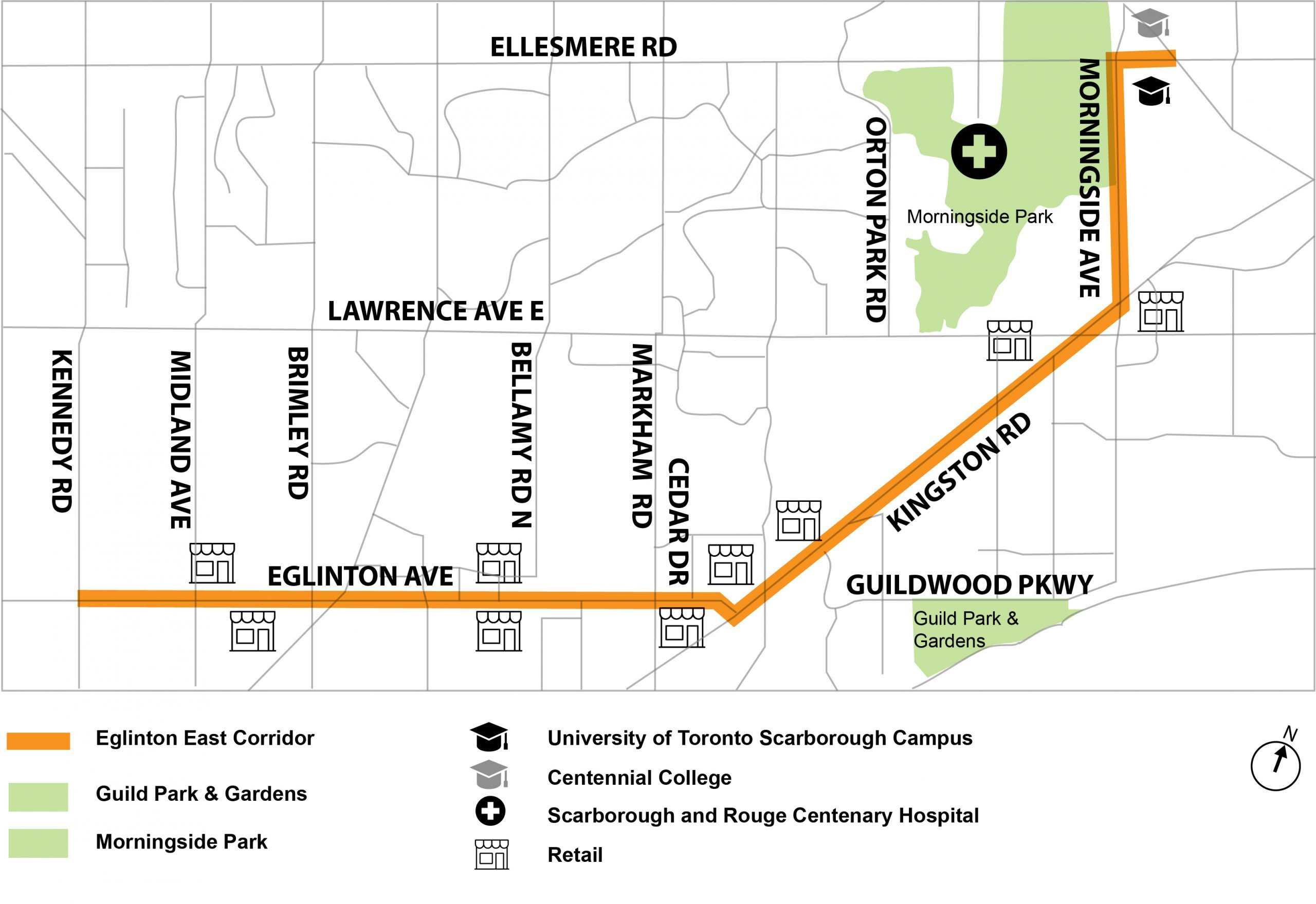 Map of the 8.5-kilometre Eglinton East corridor which runs along Eglinton Avenue East, Kingston Road and Morningside Avenue from Brimley Road, through to the University of Toronto Scarborough Campus.