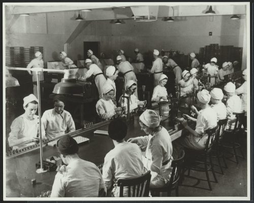 Workers on GECO factory assembly line