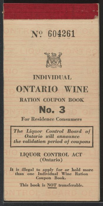 Wartime wine ration book