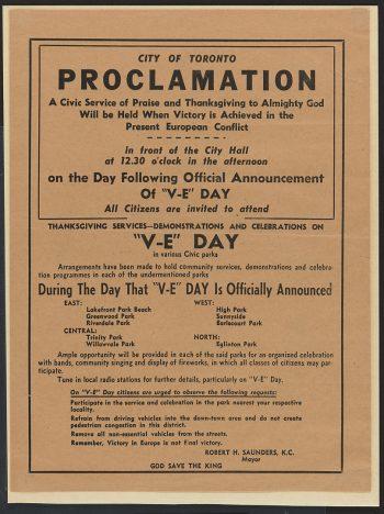 VE Day Proclamation