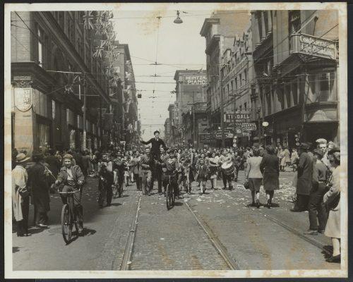 People celebrating in street