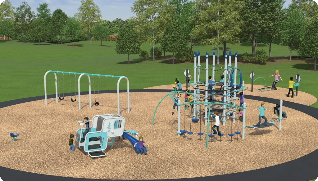 Playground option 3 includes a junior and senior play structure, swings, rope climber, spinner and spring toy