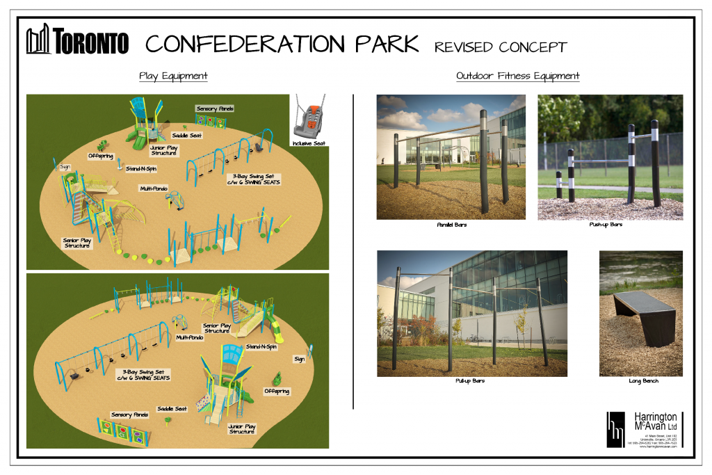 The final equipment concept for the improvements to Confederation Park includes a playground with junior and senior play equipment, sensory play panels, a spring toy and stand up seesaw and spinner. The outdoor fitness area will include a large bench, pull-up bars, push-up bars and parallel bars.