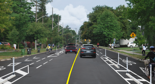 Artist rendering of Martin Grove Road with cycle tracks