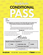 BodySafe yellow inspection conditional pass notice (poster)