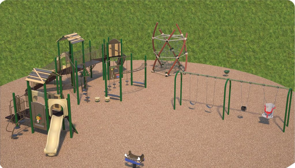 Playground option 2 includes a junior and senior play structure, swings, rope climber, spinner and spring toy.