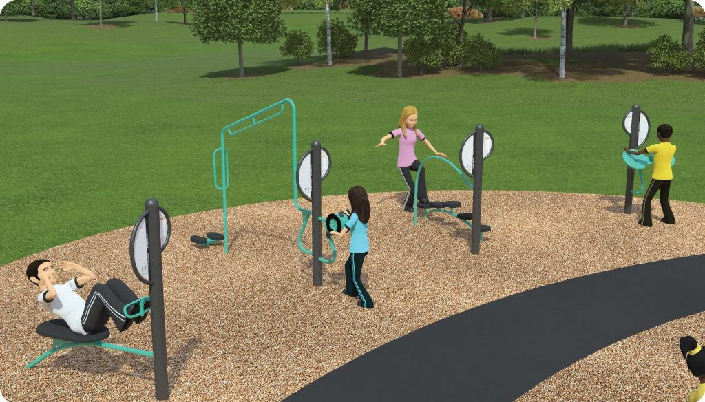 Option 3 for the fitness station includes balance steps, sit up bench, hand cycler, parallel bar, and stretch and Tai Chi wheels.