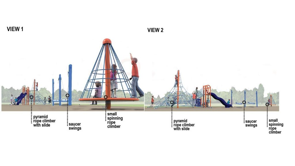 Two renderings of playground option 4, described in the text following the image.