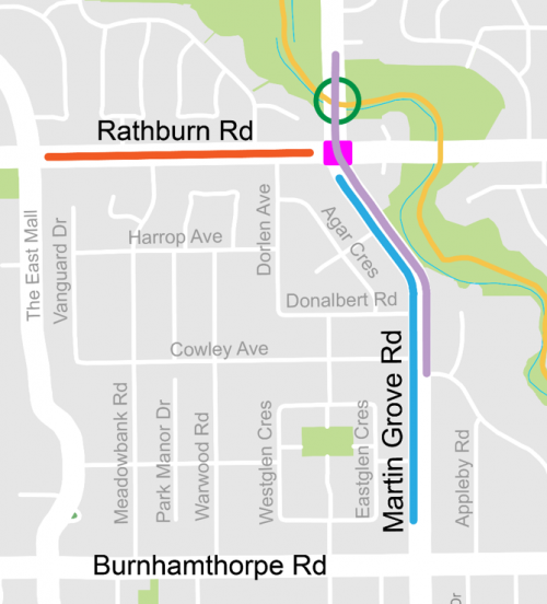 Map showing the location of the watermain replacement on Martin Grove Road, the location of the proposed safety improvements on Martin Grove Road and the proposed safety improvements on Rathburn Road