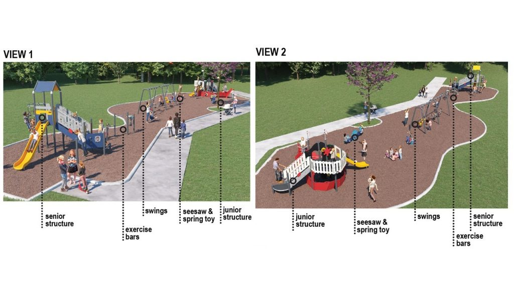 Two renderings of playground option 3, described in the text following the image.