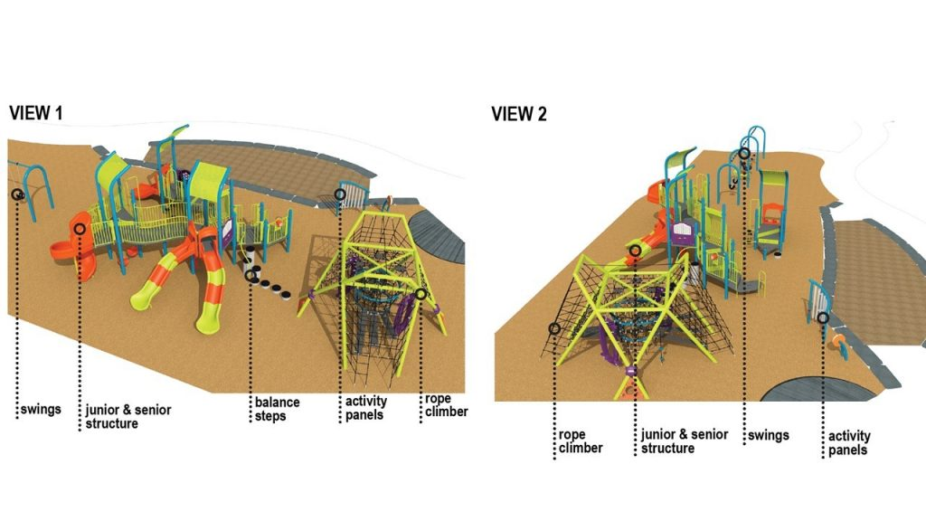 Two renderings of playground option 2, described in the text following the image.