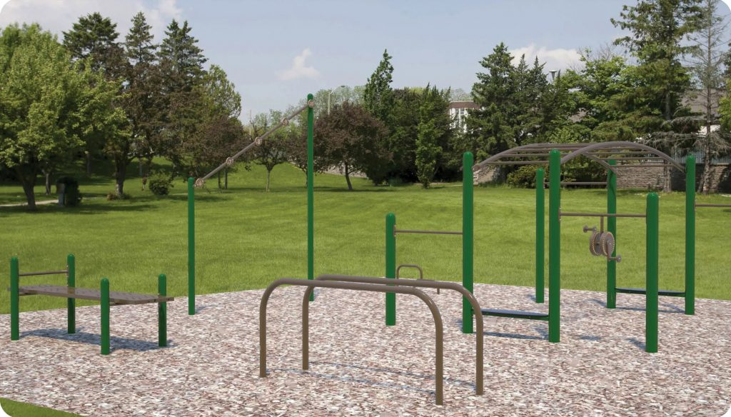 Option 2 for the fitness station includes an achilles stretch, sit up bench, jump touch station, parallel bar, 12' arched overhead station and Tai Chi wheels.