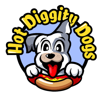 Hot Diggity Dogs logo. Image of dog with a hot dog
