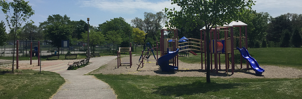 The climbing and playground equipment at Coronation Park, with slide.