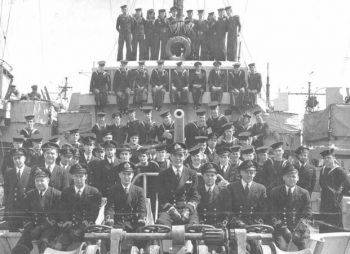 Image of the ship, the HMCS Esquimalt and its crew