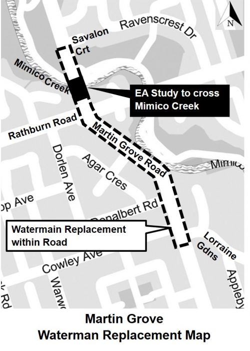 Watermain Replacement along Martin Grove Road from south of Savalon Court to Lorraine Gardens