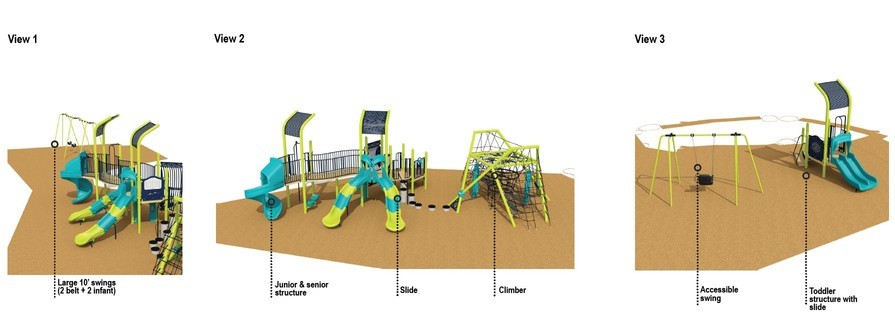 This is the updated playground design for Joseph Burr Tyrrell Park Playground. It is described in the text following the image.