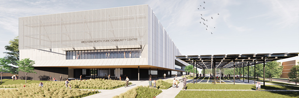 A computer rendering of the exterior of the community centre.