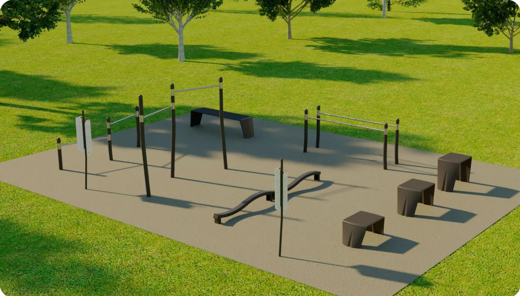 Option 1 for the fitness station includes push-up bars, pull-up Bars, balance beams, step benches, parallel bar and instruction panels.