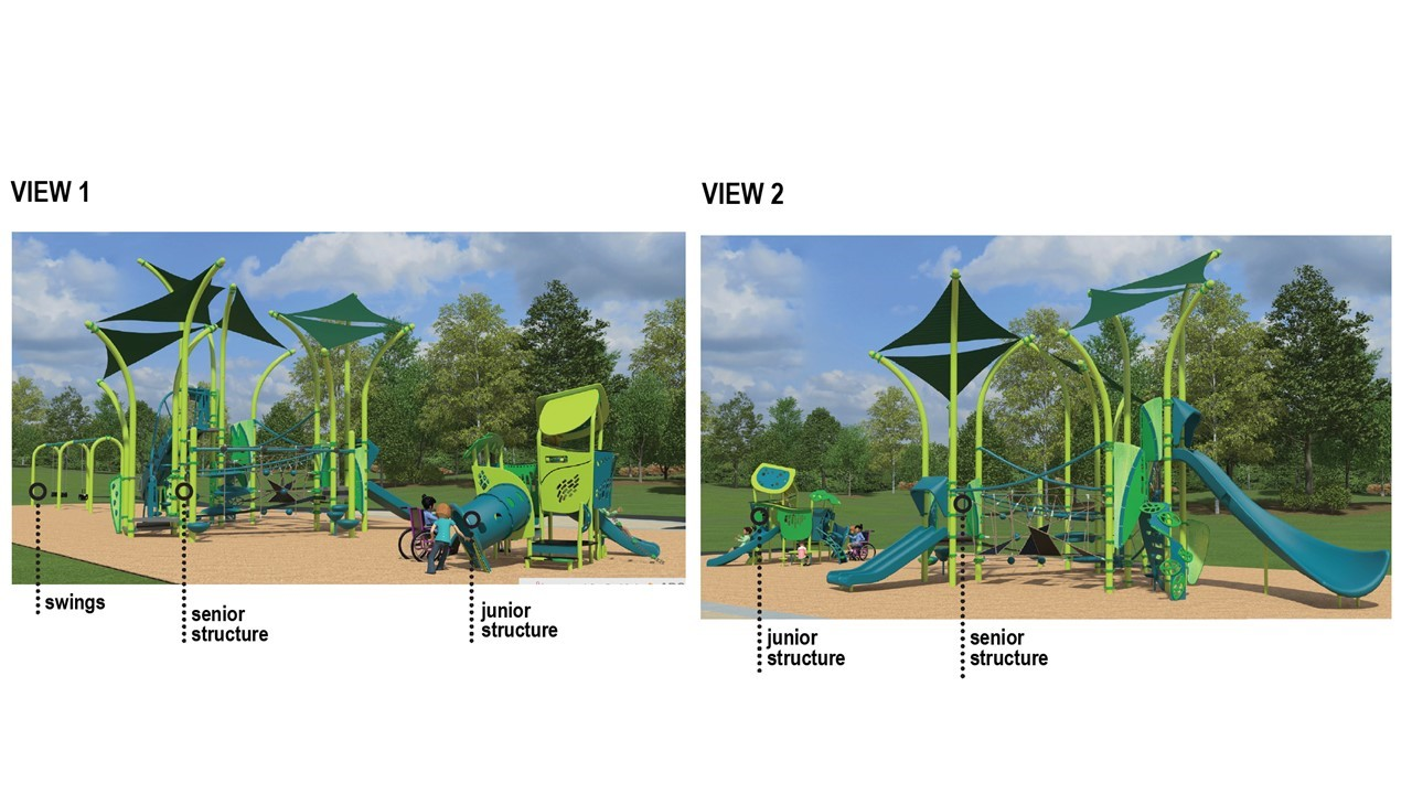 Two renderings of playground option 1, described in the text following the image.
