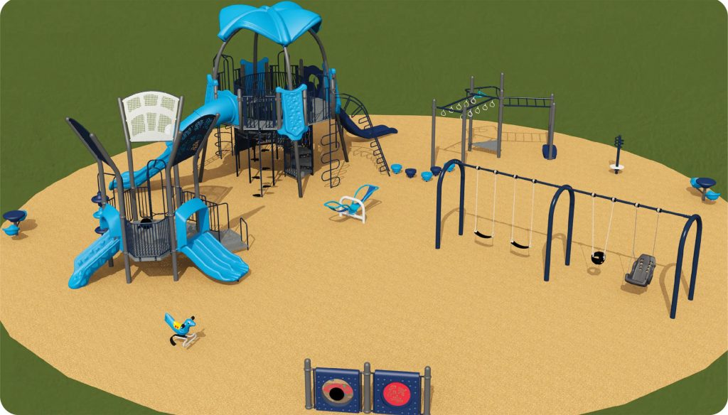 Playground option 1 includes a junior and senior play structure, swings, see saw, spinner and spring toy.