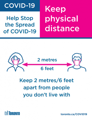 Keep physical distance. Keep 2 meters apart from people you don't live with.