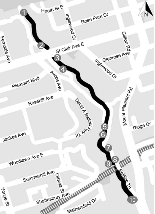 Map of Yellow Creek Study Area from the source outfall (near Heath Street, south of the cemetery) to the inlet point (south of CP Rail).