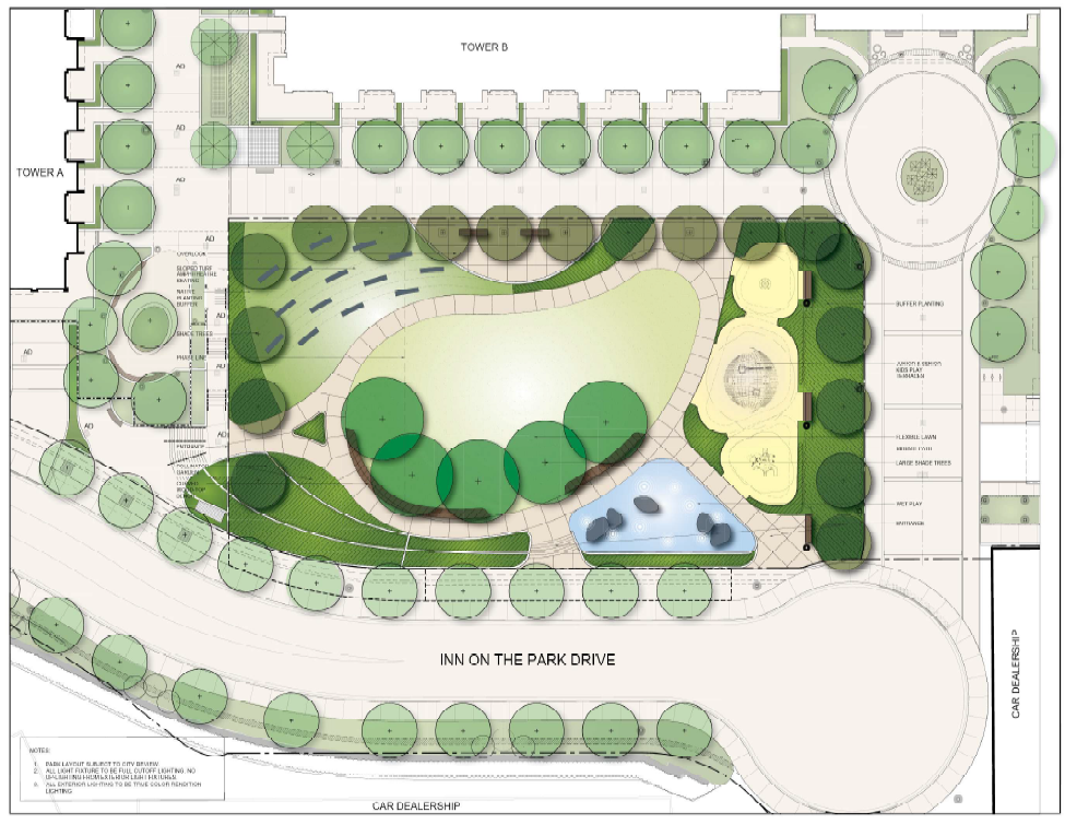 The proposed concept plan for the new park coming to the Auberge on the Park development site. The new park will be bordered by trees and new plantings and include an open lawn area with pathway connections.