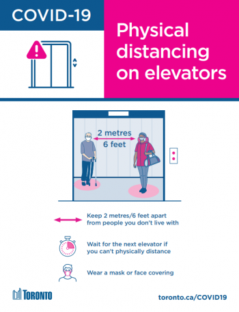 screengrab of the physical distancing in elevators poster