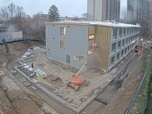 Construction of the modular building underway