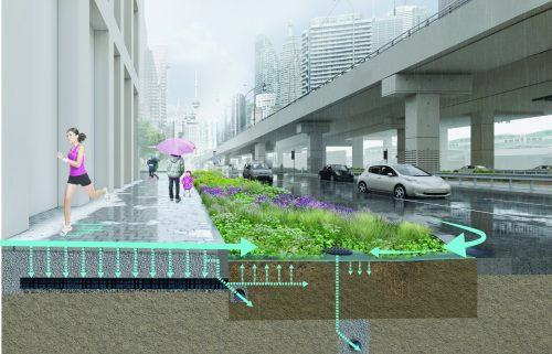 An artist rendering of the South Sidewalk Pilot Project, which shows reconstruction using porous pavers over a permeable sub-base instead of concrete.