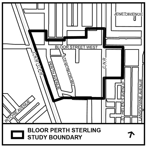 The Bloor Street West Study area is generally bounded by; the north side of Bloor Street West, St. Helen's Avenue to the east, the Kitchener GO Rail corridor to the west and Sterling Road to the south.