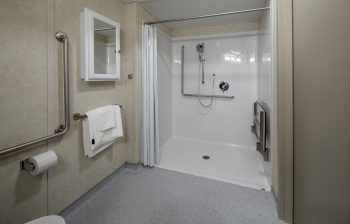 321 Dovercourt Rd. Accessible shower with handrails and mirror
