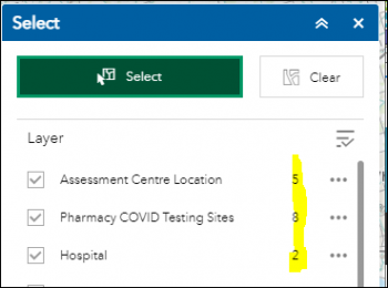 Display of the Select Menu listing Assessment Centre Location, Pharmacy COVID Testing Sites, Hospital along with number of selected features for each layer.