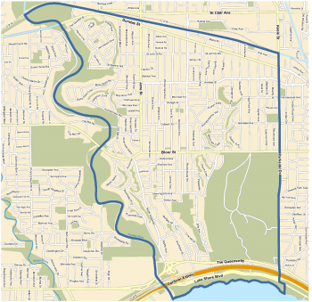 Beginning at the intersection of the westerly limit of the former City of York and the centre line of the Canadian Pacific Railway; Thence easterly along the centre line of said Railway to the centre line of Keele Street; Thence southerly along the centre line of Keele Street and continuing southerly along the centre line of Parkside Drive and its southerly prolongation to the southerly limit of the City of Toronto; Thence generally westerly along the southerly limit of the City of Toronto to the centre line of the Humber River; Thence northerly along the centre line of the Humber River to the point of beginning.