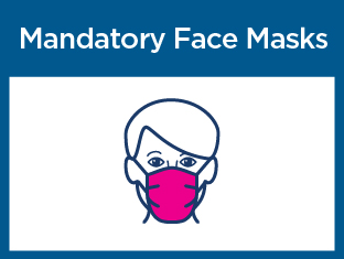 Mandatory Face Masks title. Image of a face with a mask covering the nose, mouth and chin. Caption: Wear a mask