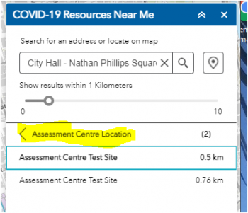 Display of the COVID-19 Resources Near Me menu with 2 Assessment Centres listed that fall within the buffer distance.