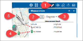 Display of Measurement tool for location to depict the lat/long of a location on the map