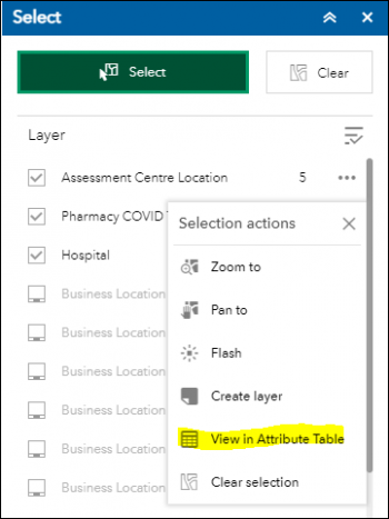 """Display of the Selection Actions menu with """"View in Attribute Table"""" highlighted."""