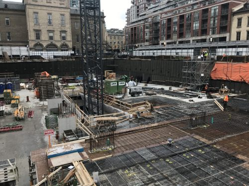 Showing parking garage construction at the North St. Lawrence Market.