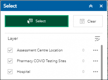 Display of the default Select Menu listing Assessment Centre Location, Pharmacy COVID Testing Sites, Hospital
