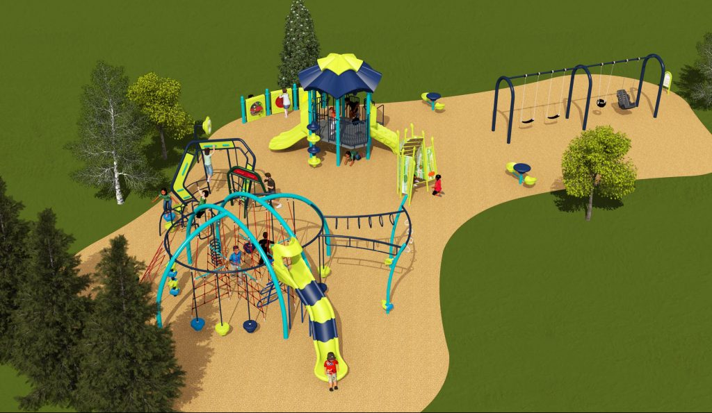 Playground equipment design option two for Old Sheppard Park includes a senior and junior play structure, AODA compliant transfer platforms, and free standing structures like two game tables, music panel activities and a tot rock climber.