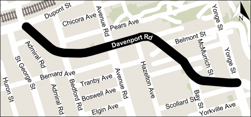Map of Davenport Road corridor from Dupont Street to Yonge Street