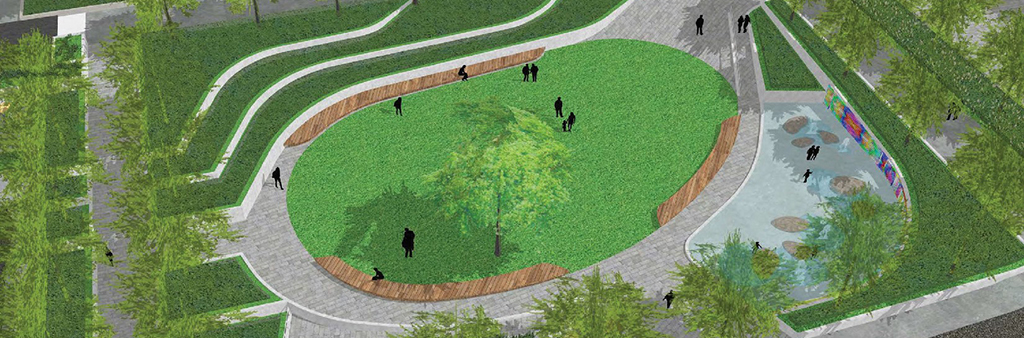 A simple, bird's eye view rendering of the new park.
