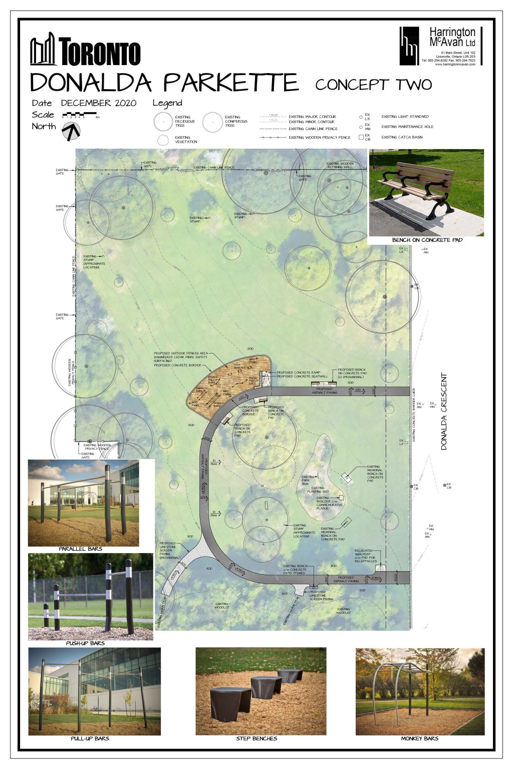 An image of the design plan for the option 2 fitness circuit for Donalda Park. This option feature an asphalt trail loop in the open lawn area of the park, and additional seating. The asphalt multi-use trail is an square shape in the open lawn area of the park. The plan also includes one large outdoor fitness station with Engineered Wood Fibre surface and multiple seating along the path. The image also illustrates the existing plantings and trees in the park and surrounding wooded area. The image includes renderings of the proposed fitness equipment, which includes parallel bars, pull-up bars, step benches, monkey bars and push up bars.