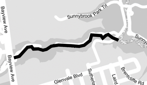 Map of Burke Brook Addendum from east of Bayview Avenue to confluence with West Don River